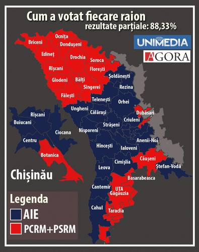 Majority vote by districts. Red: Communist and Socialist majority. Blue: Pro-EU majority of three parties: PLDM, PD, PL. Source: unimedia.info